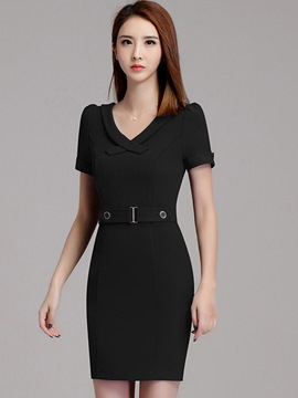Ericdress OL Lapel Belt Patchwork Bodycon Dress