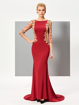 Ericdress Elegant Mermaid 3/4 Length Sleeves Appliques Court Train Evening Dress
