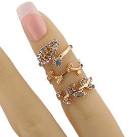 Ericdress Full Rhinestone Leaf Three-Pieces Ring Set
