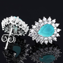 Ericdress Shining Micro Inlaid Zircon Stud Earrings