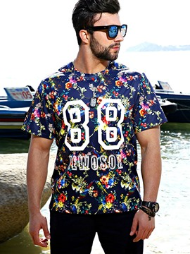 Ericdress Plus Size Floral Casual Short Sleeve Men's T-Shirt