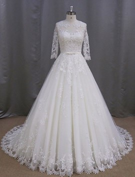 Ericdress Charming Jewel Appliques Half Sleeves A Line Wedding Dress