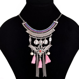 Ericdress Bohemian Pink Tassels Pearl Design Necklace