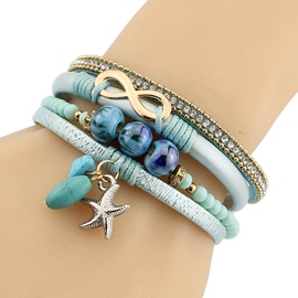 Ericdress Bohemian Multilayer Starfish Pendant Bracelet