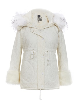 Ericdress Faux Fur Collar Drawstring Cotton Coat