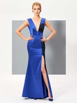 Ericdress Sheath Deep V Neck Slit Front Beaded Floor Length Evening Dress
