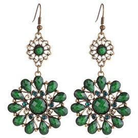 Ericdress Water Drop Gemstones Flower Earrings