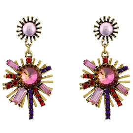 Ericdress Pink Gemstones Flower Pendant Earrings
