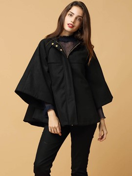 Ericdress Solid Color Batwing Trench Coat