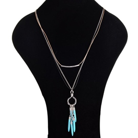 Ericdress Multilayer Chain Turquoise Tassels Necklace