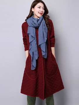 Ericdress Round Neck Loose Trench Coat