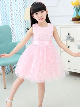 Ericdress Floral Sleeveless with Belt Girls Dress