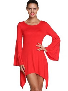 Ericdress Round Collar Flare Sleeve Above Knee Asymmetrical Casual Dress