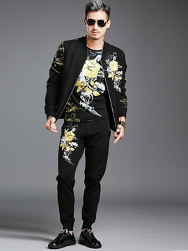 Ericdress Vogue Print Zip Two-Piece of Casual Men's Suit