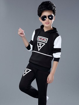 Ericdress Color Block Hoodie Pants Boys Outfit