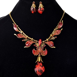 Ericdress Oil Drip Leaves Design Alloy Two-Pieces Jewelry Set