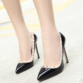 Ericdress PU Rivets Decorated Point Toe Pumps