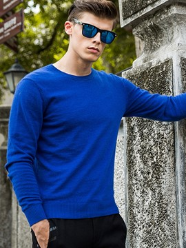 Ericdress Solid Color Pullover Men's Sweater