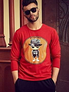 Ericdress Long Sleeve Plus Size Print Men's T-Shirt