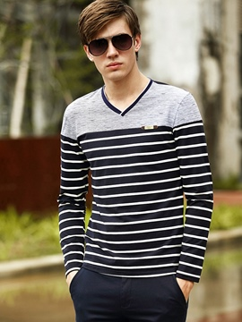 Ericdress Stripe V-Neck Long Sleeve Men's T-Shirt