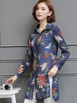 Ericdress Floral Print Split Side Blouse