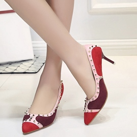 Ericdress Spring Contrast Color Rivets Decorated Pumps