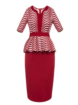 V-Neck Stripe T-shirt And Skirt Suits