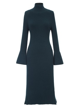 Ericdress Turtleneck Flare Sleeves Mid-Calf Sweater Dress