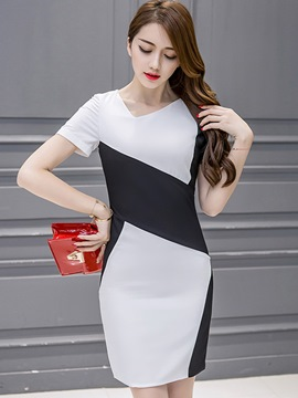 Ericdress Asymmetric Square Neck Color Block Short Sleeve Bodycon Dress