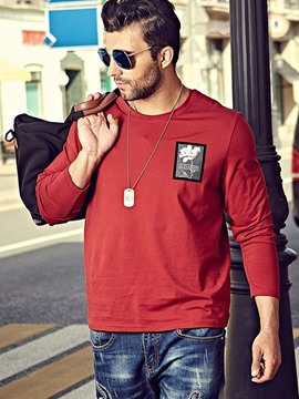 Ericdress Plus Size Long Sleeve Print Casual Men's T-Shirt