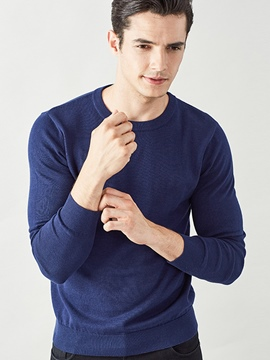 Ericdress Solid Color Simple Pullover Men's Sweater