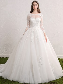 Ericdress Beautiful Scoop Appliques Beaded Ball Gown Long Sleeves Wedding Dress