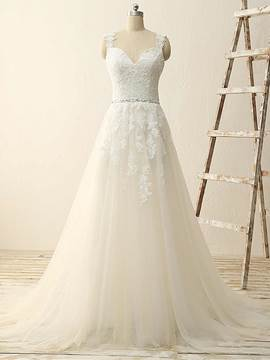 Ericdress High Quality Straps Appliques A Line Wedding Dress