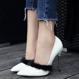 Ericdress Delicate Fur PU Point Toe Pumps