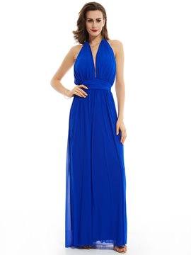 Ericdress Halter Neck Backless Pleats A Line Floor-Length Evening Dress