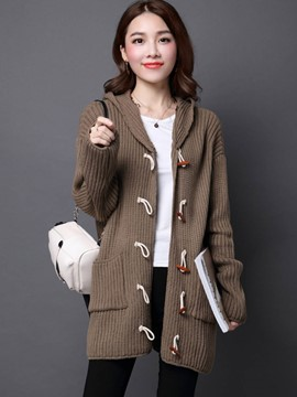 Ericdress Horn Button Hooded Knitwear