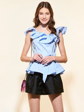 Ericdress Plain Ruffled Collar Short Blouse