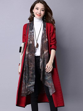 Ericdress Color Block Patchwork Loose Trench Coat