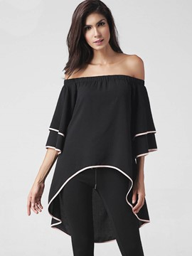 Ericdress Dip Hem Off Shoulder Blouse