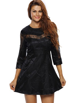 Ericdress Lace Patchwork See-Through Peated Casual Dress