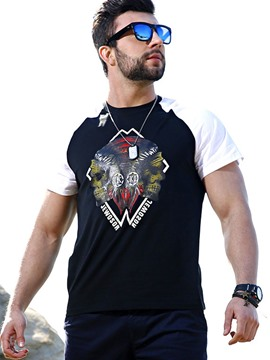 Ericdress Color Block Print Plus Size Casual Men's T-Shirt