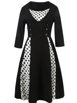 Ericdress Polka Dots Patchwork Double-Breasted Maxi Dress