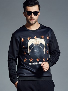 Ericdress Dog Print Crew Neck Plus Size Casual Men's Hoodie