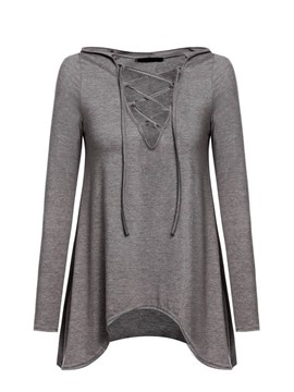Ericdress Lace Up Hooded Solid Color T-Shirt
