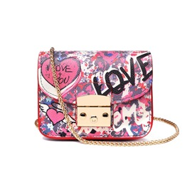 Ericdress Vintage Graffiti Print Crossbody Bag
