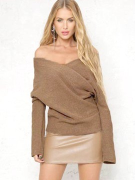 Ericdress Deep V-Neck Plain Sexy Knitwear