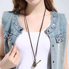 Ericdress Alloy Guitar Pendant Leather Necklace