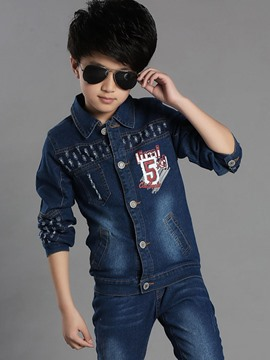Ericdress Letter Number Printed Denim Boys Outfit
