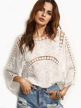 Ericdress White Floral Crochet Scoop Neck Blouse