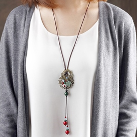Ericdress Retro Imitation Aventurine Pendant Necklace
